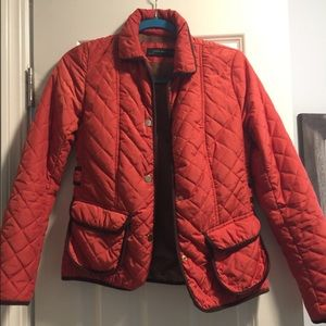 Zara burnt orange puffer jacket with cute patches!